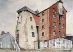 Harry Gee watercolour of Old Mill, High Street, Abergele. Now demolished.