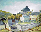 Hilda Gee oil painting of old cottages